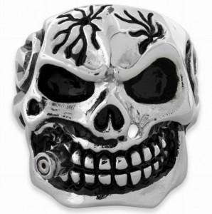 110213 Stainless Steel Cigar Skull Ring 2